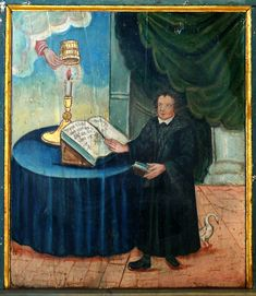 "The uncovering of the candle light (at the left) is not only an allusion to the parable of the lamp under a basket (Mt 5:14–15; Mk 4:21–22; Lk 8:16 and 11:33), but also a simile for Luther's reformation as revelation of the true gospel. Behind Luther there is a little goose as a symbol for Jan Hus (Czech husa means ""goose""), who was considered as Luther's precursor. (parapet of the northern gallery in the Amanduskirche in Beihingen, Freiberg am Neckar (Germany). Artist: Hans Stiegler"