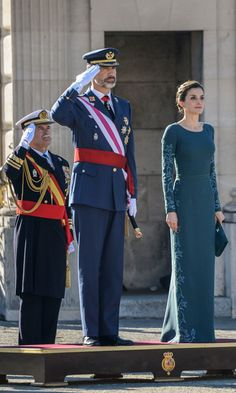 Queen Letizia stunned wearing a blue embroidered gown by Felipe Varela for her first public engagement of the new year. The Spanish monarch stepped out with husband King Felipe VI for the military celebration of Epiphany Day at Madrid's royal palace.  Photo: Andrews Archie/ABACA ABACA/PA Images