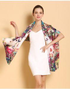 100% Mulberry Long Scarf Women Silk Scarf Luxury Brand Scarf Shawl Silk Scarves Long Printed Shawls Beach Cover-ups