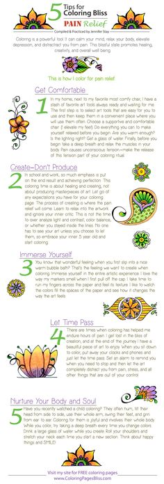 5 tips for coloring for pain relief. Great ideas on how coloring can be used to cope with pain. The link also leads to some great Coloring Pages for Adults.