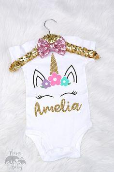 70fb878a6 Unicornio mono de bebé niño unicornio camiseta personalizada Vincha  Unicornio, Ropa De Unicornio, Camiseta