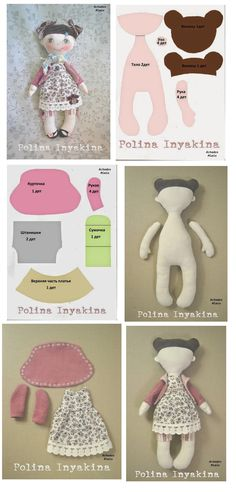 Doll - Tutorial by Polina Inyakina Doll Crafts, Diy Doll, Fabric Toys, Fabric Crafts, Doll Clothes Patterns, Doll Patterns, Sewing Dolls, Doll Tutorial, Soft Dolls