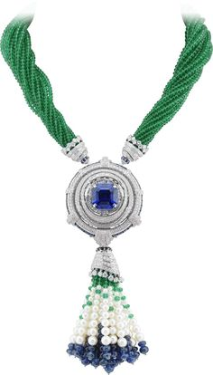 Van Cleef and Arpels Peau d'Âne Enchanted Forest white gold convertible necklace with diamonds, cabochons, sapphire beads and 381ct of emerald beads surrounding an octagonal 24.77ct sapphire.