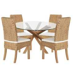 Buy Home Of Style Abbotsley Dining Table With 4 Rattan Chairs At Argosco