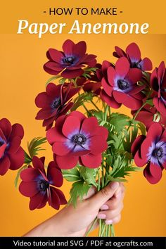 Learn how to make this paper Anemone Bordeaux with easy step-by-step video instruction and templates for cutting machines and for manual cutting. Find more projects and download SVG/PDF cut files at ogcrafts.com. #ogcrafts #paperflowers #svgtemplates #paperanemone #paperbouquet #handmadeflowers How To Make Paper Flowers, Paper Flowers Wedding, Paper Flowers Diy, Handmade Flowers, Diy Paper, Paper Bouquet Diy, Pdf Cut, Flower Video, Anemone Flower