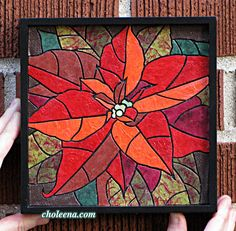 Poinsettia Mosaic- Paper Tile Mosaic- Mini- Original Art- Unique Process- Pointsetta- Poinsettia Art- Christmas Art- Xmas Art- Flower Art