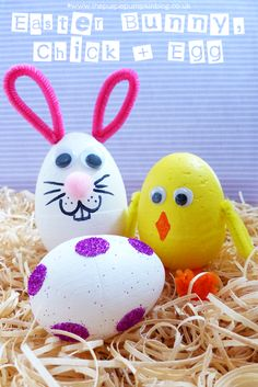 #Easter Bunny, Chick + Glitter Dot Egg - quick and simple Easter #Crafts