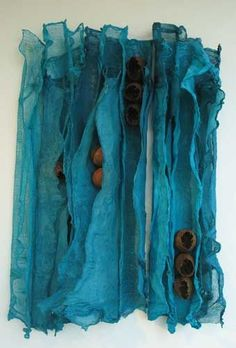 Felt Fiber Art / Wall hanging by artist 'Sandra Brick' . Textile Fiber Art, Textile Artists, Creative Textiles, Nuno Felting, Fabric Manipulation, Felt Art, Fabric Art, Art Techniques, Weaving