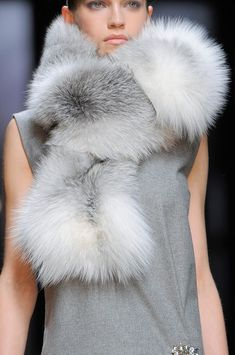 shadow fox fur scarf - fashion insanity--who wants to wear a fur scarf when it is warm enough for sleeveless? Beautiful colors though...