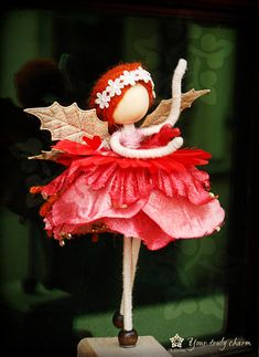 Golden Wings Rose Princess Doll, Angel Petal Ornament, Red No face doll, Rose Angel Doll,Flower Petal Doll