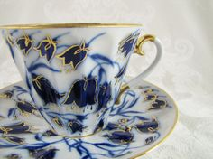 Lomonosov Russian Porcelain Teacup and Saucer- Bluebells-Cobalt Blue and Gold-