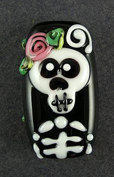 Sweet Skeleton Halloween Lampwork Focal Bead