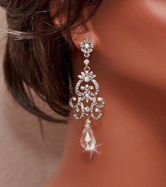 NICOLA - Vintage Inspired Silver Rhinestone and Swarovski Crystal Bridal Chandelier Earrings