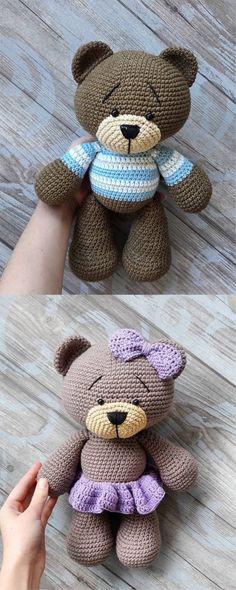 Beautiful # Teddy # Bear # Amigurumi # - # Tutorial # # Amigurumi # # crochet # # Tutorial # by hand, Chat Crochet, Crochet Amigurumi, Crochet Bear, Crochet Dolls, Free Crochet, Crochet Teddy Bear Pattern Free, Crochet Teddy Bears, Free Pattern, Amigurumi Patterns