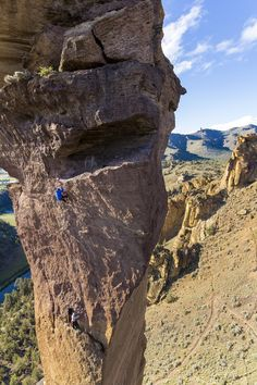 Climbers on the aid pitch of the Pioneers Route in Smith Rock, Oregon