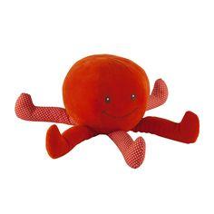 peluche enfant pieuvre rouge h 35 cm