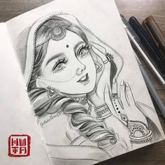 Portraits by Huta Chan Abstract Pencil Drawings, Dark Art Drawings, Girly Drawings, Drawing Art, Disney Pencil Drawings, Pencil Painting, Mandala Drawing, Drawing Faces, Drawing Tips