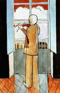 """kundst: """"Henri Matisse (Fr. 1869 - 1954) Le violoniste à la fenêtre (1918) Oil on canvas (150 x 98 cm) """""""