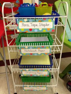 I like the idea of the writing cart and her idea for skipping lines during rough draft