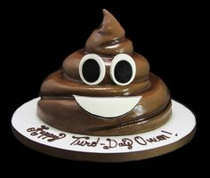 Poop Emoji shaped cake #Birthday #cake #custom #customcake #cakeinpiration #kids #cakesforkids #color #colorfulcakes #charactercakes #cartoons #emoji #emojicake