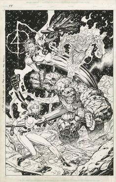 art process for a Promotional PinUp of the Fantastic Four for the Heroes Reborn event by Jim Lee and Scott Williams. Comic Book Artists, Comic Artist, Comic Books Art, Marvel Comics Art, Marvel Comic Universe, Fantastic Four, Jim Lee Art, Heroes Reborn, Graffiti