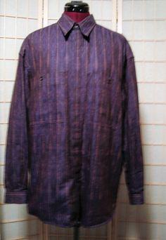 Zanella Sz M Men's Italian 100% Cotton Purple Multi Color Striped Dress Shirt #Zanella