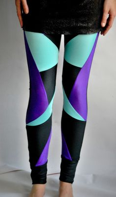 Trendylove's design Turquoise/Purple/Black Patchwork by zelnatt Cute Gym Outfits, Sporty Outfits, Athletic Outfits, Athletic Wear, Best Leggings, Tight Leggings, Leggings Are Not Pants, Workout Leggings, Workout Attire