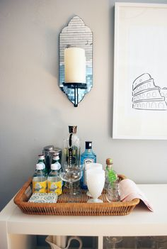 Mini bar basket set-up - would be ideal as a temporary party solution.