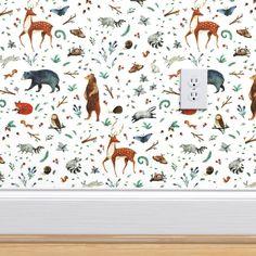 Peel-and-Stick Removable Wallpaper Deer Buck Doe Woods Forest Snail Toadstools - Walmart.com - Walmart.com