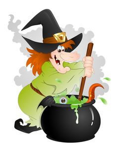 Halloween Witch with Cauldron PNG Clipart
