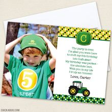 Tractor Party Photo Thank You Cards