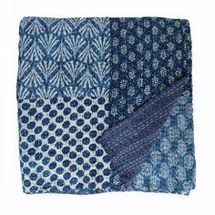 Indigo block print kantha quilt