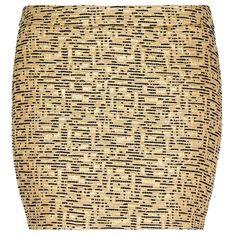 MANGO Metallic Brocade Mini-Skirt ($60) ❤ liked on Polyvore