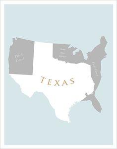 TEXAS Art Print - - Texas poster wall hanging Home decor