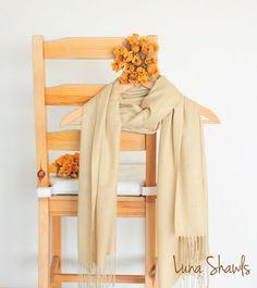 Beige Shawl Wedding Shawl Solid Color Scarf by LunaShawls on Etsy