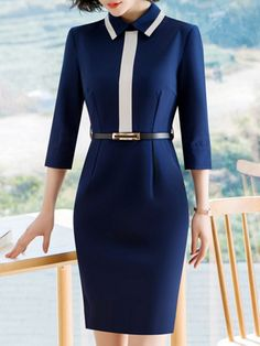 e2d0afc0f47 Solid Color Turn-down Collar Half Sleeves Sheath Dresses