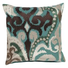 Surya Radiant Swirl Decorative Throw Pillow Black/Green/Robin Egg Blue Down - AR074-1818D