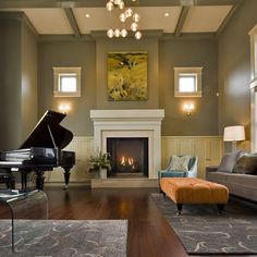 Grand piano in living room.