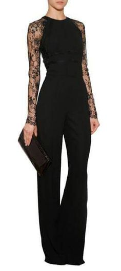 An exquisite alternative for evening, Elie Saab& jumpsuit features exquisite lace sleeves and flattering wide leg silhouette Mode Outfits, Fashion Outfits, Womens Fashion, Fashion Trends, Fashion Clothes, Fashion Art, Mode Style, Style Me, Elegantes Outfit