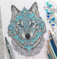 🔹🔷Wolf drawing done with prismacolors, copics and some stabilos!🔷🔹 Really like drawing mandalas, should I make more drawings like this? Mandala Art, Mandala Lobo, Wolf Tattoos, Female Tattoos, Tribal Tattoos, Cool Drawings, Painting & Drawing, Colour Drawing, Cool Art