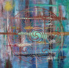 "Celtic Circle on a Range of Abstract Paint Oil on Masonite 23 x 24"" $939.99"