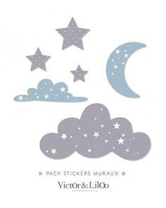 *PACK* stickers nuages bleu, lune, étoiles