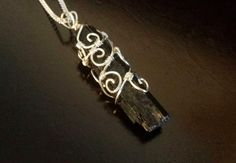 Black Tourmaline and Sterling Silver Plated Pendant, Victorian, Gothic, Metaphysical Jewelry
