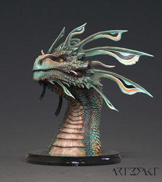ArtStation - Zhaedrass the Cunning - Dragon bust, Winton Afric Forest Creatures, Wild Creatures, Magical Creatures, Fantasy Creatures, Creature Concept Art, Creature Design, Fantasy Dragon, Fantasy Art, Zbrush