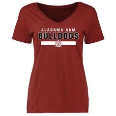 Alabama A&M Bulldogs Women's Crimson Team Strong Slim Fit T-Shirt