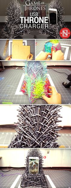 Making a DIY Game of Thrones Iron Throne Phone Charger - This Phone Charging Station Replicates The Legendary Seat from Game of Thrones! Game Of Thrones Bar, Game Of Thrones Cosplay, Game Of Thrones Gifts, Game Of Thrones Christmas, Game Of Thrones Birthday, Games For Kids Classroom, Card Games For Kids, Cute Diy Projects, Craft Projects