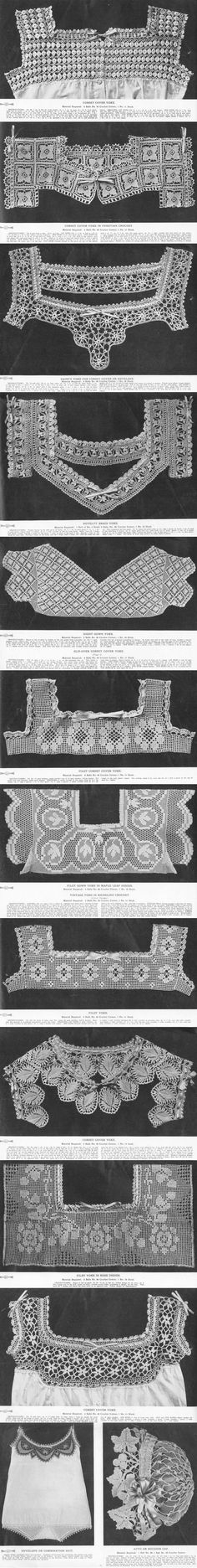 Beginner Crochet Instructions of yesteryear. The Princess Yoke Book contains engravings and instructions on making these beautiful yokes. Read it on the DIY Collaboratorium's Crochet Library page. Col Crochet, Cardigan Au Crochet, Crochet Collar, Crochet Blouse, Filet Crochet, Irish Crochet, Crochet Motif, Crochet Designs, Crochet Stitches
