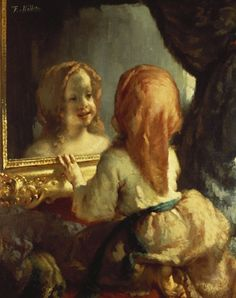 Jean-François Millet - Antoinette Herbert Looking in the Mirror (1844) |Pinned from PinTo for iPad|