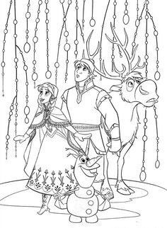 Frozen Coloring Page with Olfa and Sven