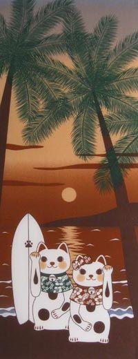 MANEKI NEKO COLLECTION - SUMMER SUNSET / Maneki-neko / Fun | Japanese Gifts TENUGUI online shop - wuhaonyc